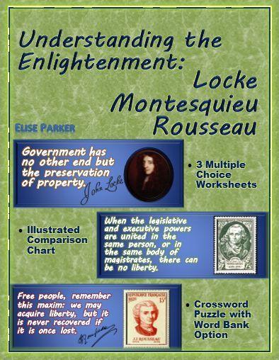 Enlightenment Worksheets And Puzzle Locke Montesquieu Rousseau Enlightenment Philosophers Enlightenment Teaching Social Studies