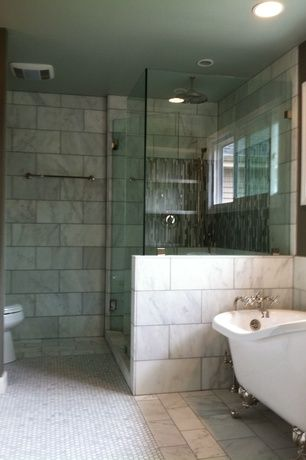 . Modern Master Bathroom with Concrete tile   Freestanding clawfoot