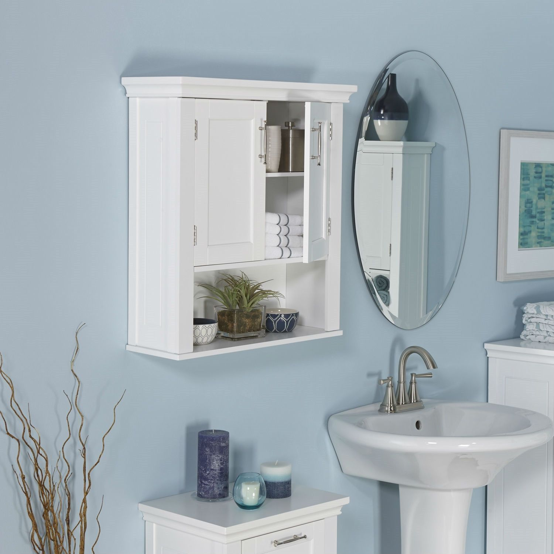 White Wood Bathroom Wall Mounted Storage Cabinet with Bottom Shelf ...