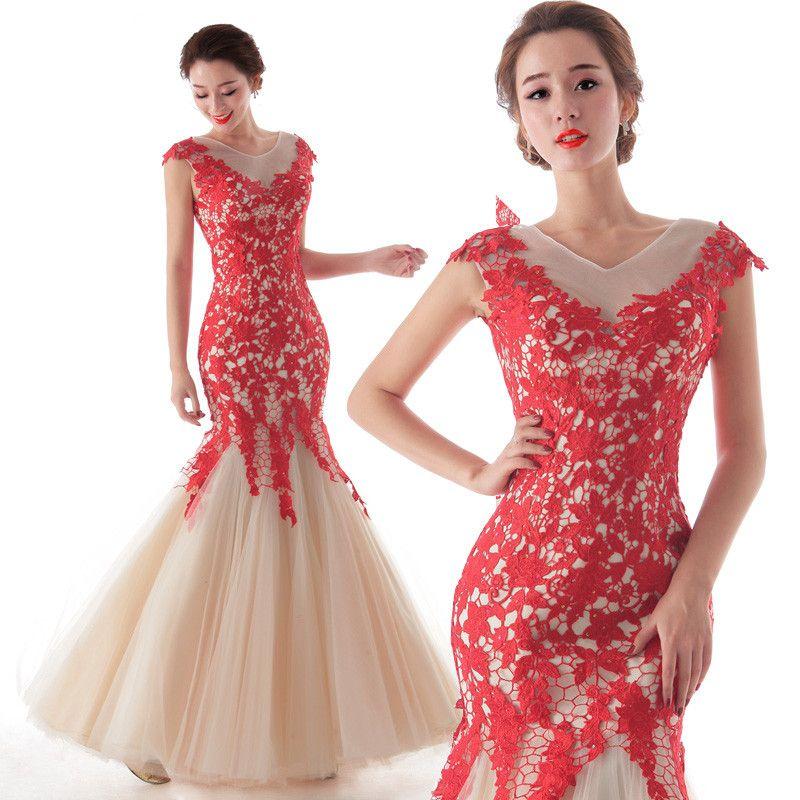 vestido de boda estilo elegante con encajes de color rojo | Moda ...