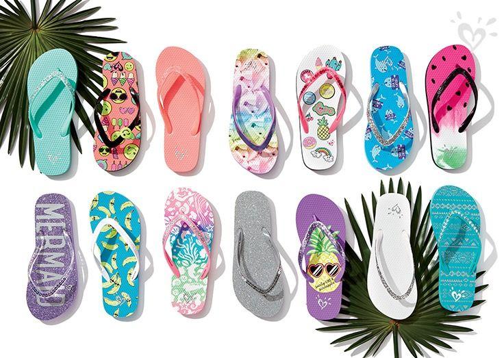 Flip flops in vibrant prints, cool