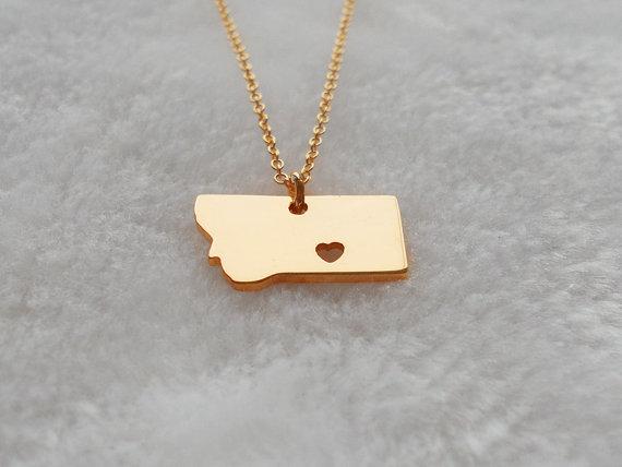 Personalized montana necklace rose goldmontana charm state personalized montana necklace rose goldmontana charm state necklace mt state pendant jewelry aloadofball Images