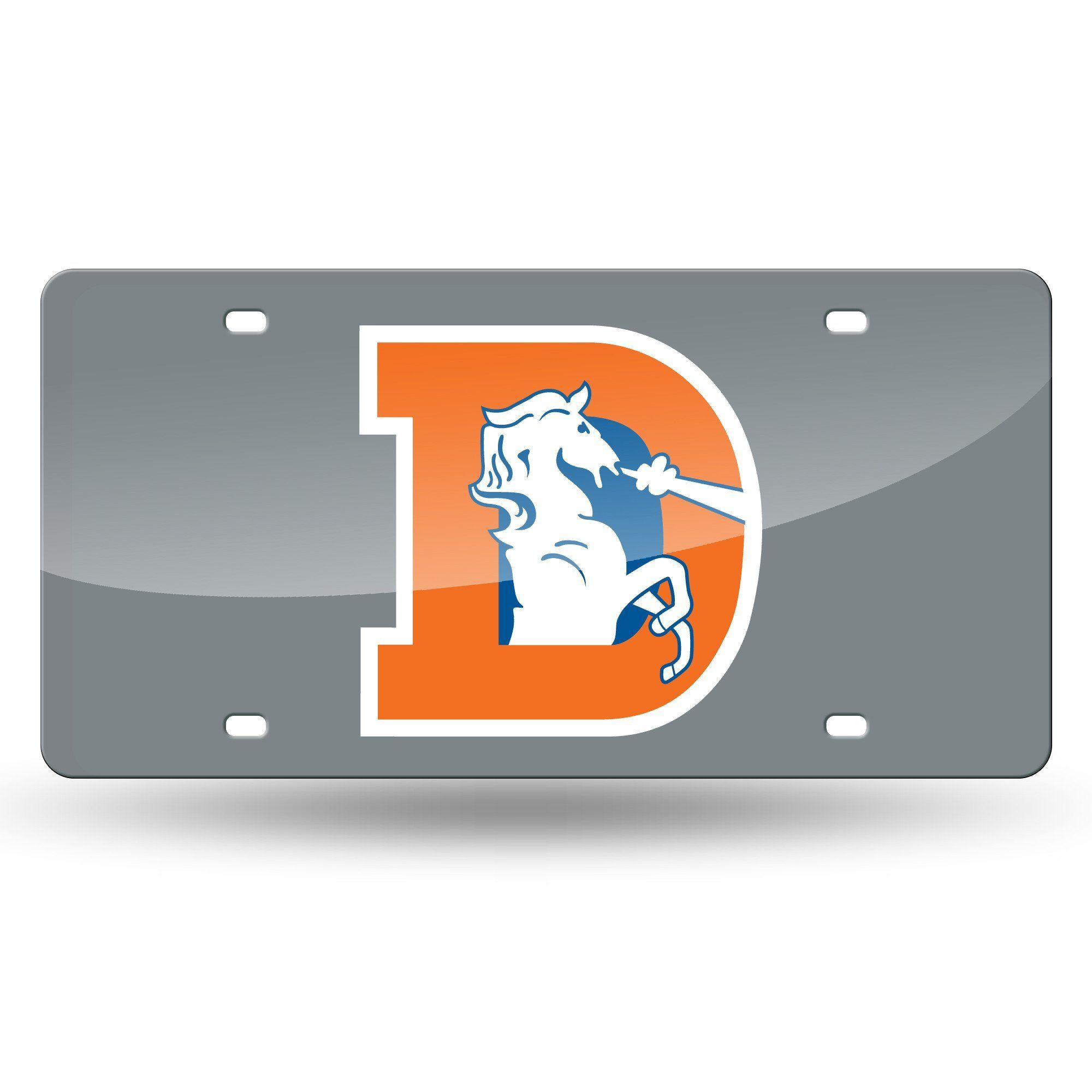 Denver Broncos Sliver Laser Tag Throwback Logo Denver