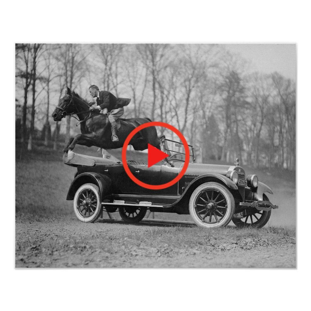 Horse jumping over car 1923 vintage photo poster