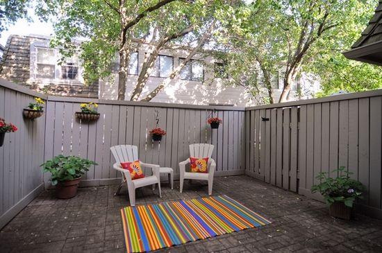 Small Patio Ideas Privacy Garden Fence Outdoor Chairs Colorful Rug Patio Fence Small Garden Fence Backyard