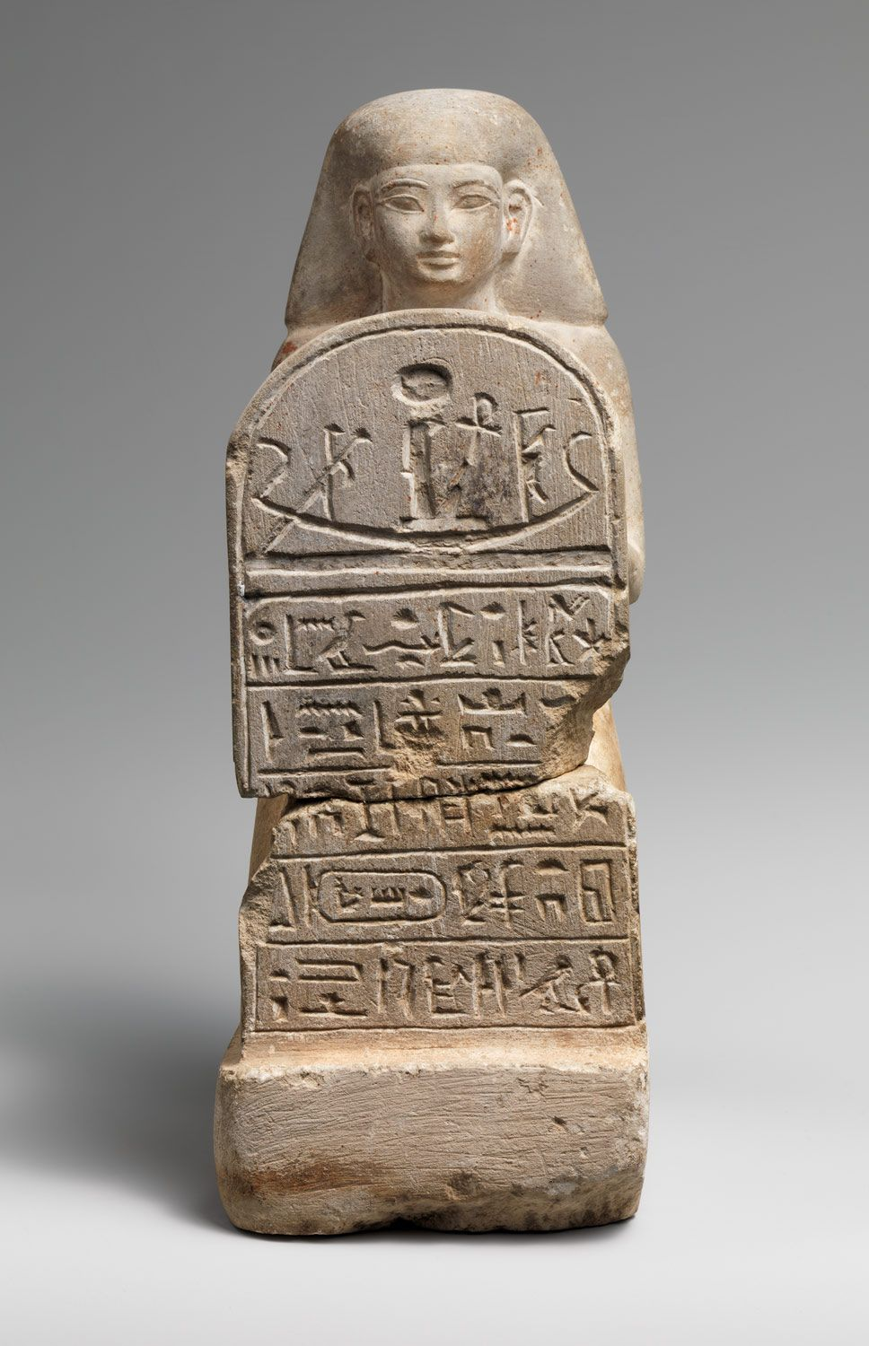 Stelophorous Statue of Bay  Period: New Kingdom Dynasty: Dynasty 19 Reign: reign of Seti I or later Date: ca. 1294–1250 B.C. Geography: From Egypt Medium: Limestone Dimensions: Overall: H. 28.1 cm (7 1/2 in); w. 15 cm (4 in); d. 15 cm (5 7/8 in) upper half: h. 17.8 cm (7 in)
