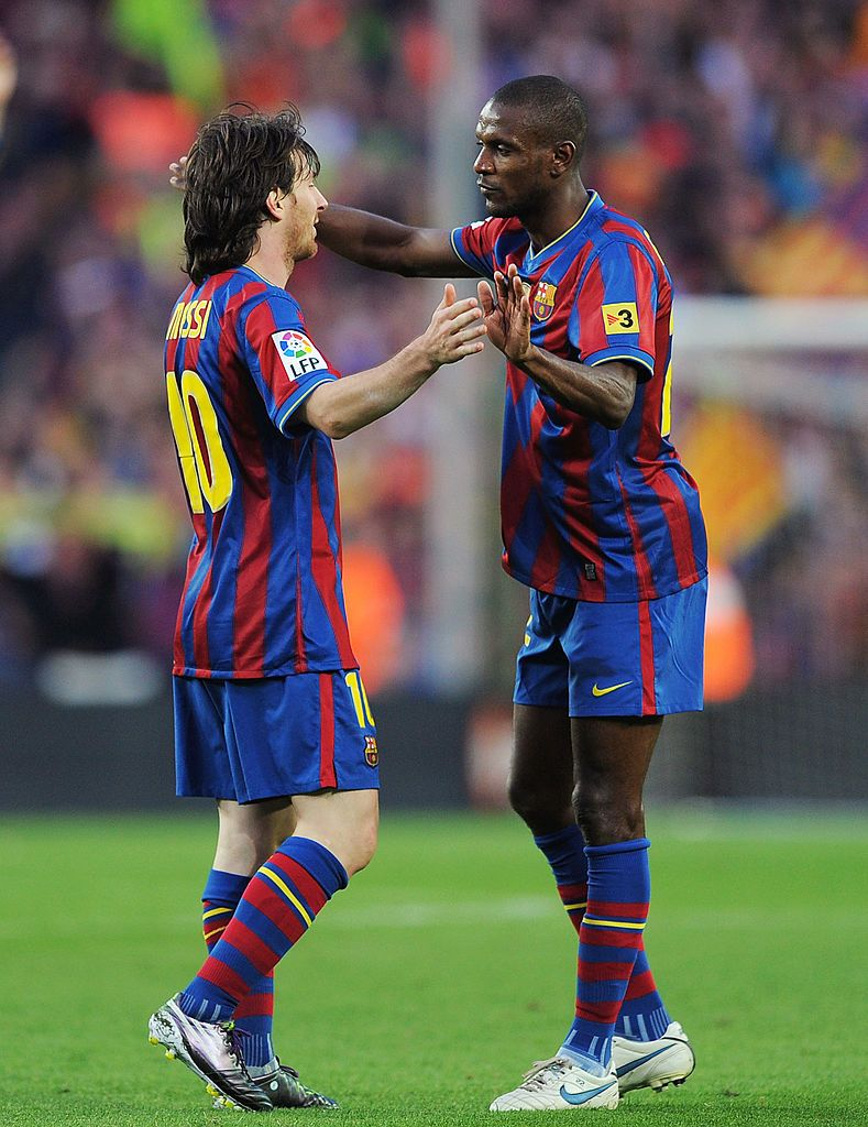Leo Messi And Eric Abidal Celebrate After Barcelona Beat Real