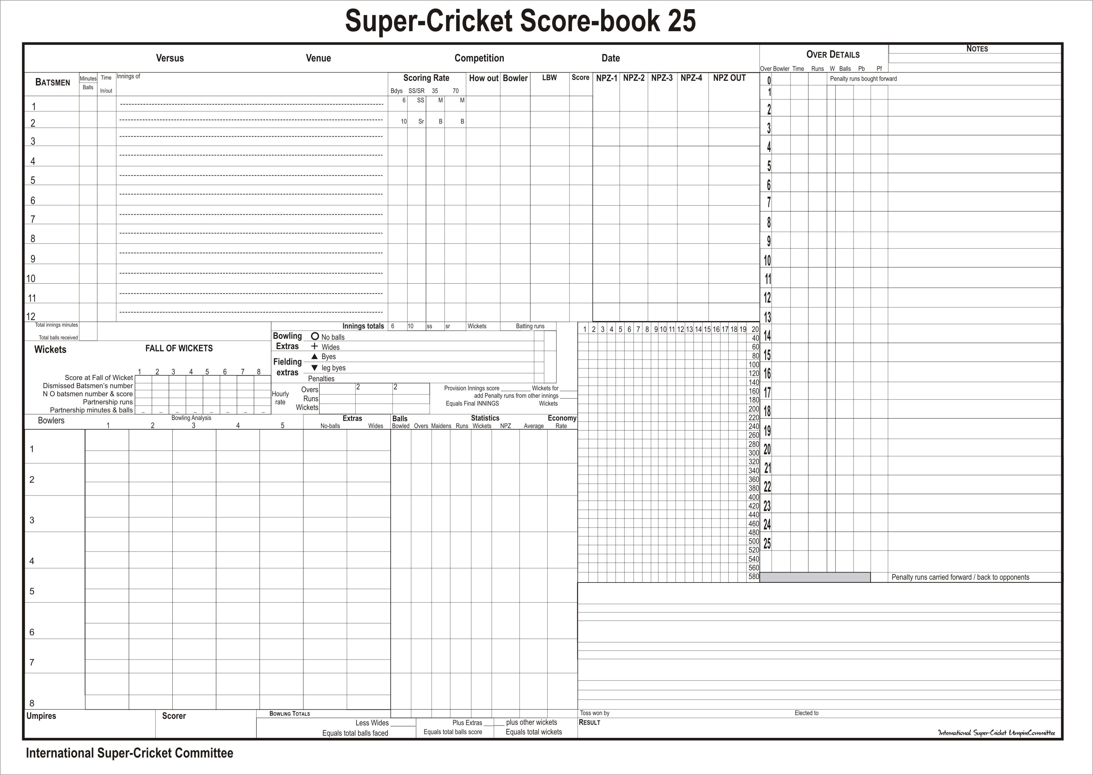 Cricket Score Sheet With Images