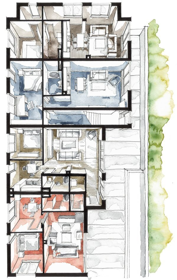 Real estate color floor plan by boryana arq for Imitazioni mobili design