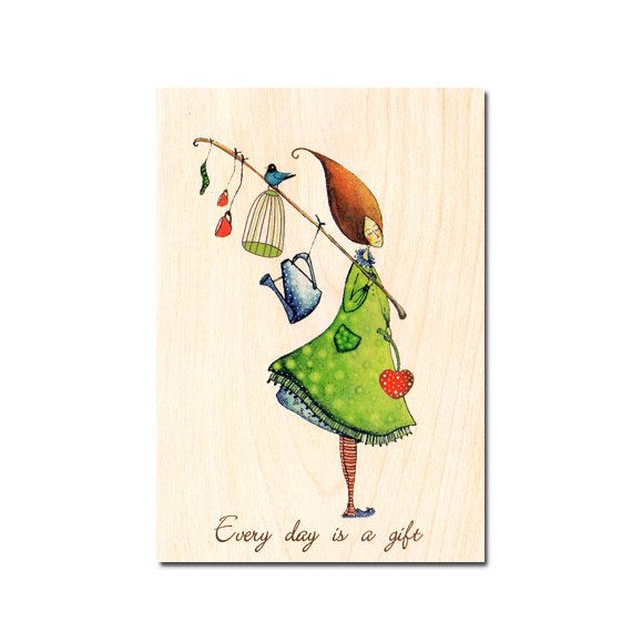 Wood card  Every day is a gift Romantic Happy by COZYWOODshop, $8.50