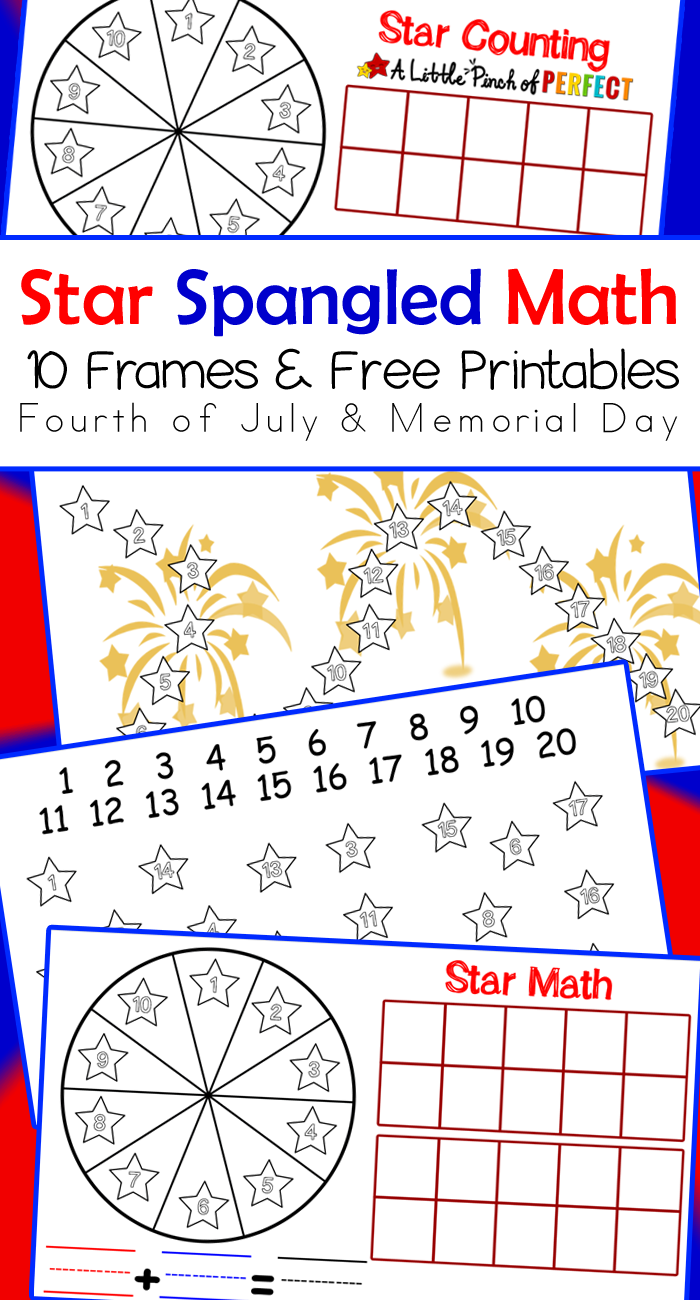 star spangled free printable math activities for the fourth of july memorial day and flag day 10 frames game with spinner counting to 20 addition and