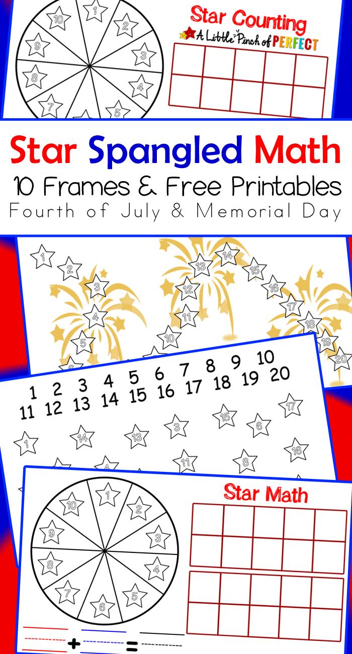 Star Spangled Math Activities: 10 Frames Free Printables -   Math  activities [ 1300 x 700 Pixel ]