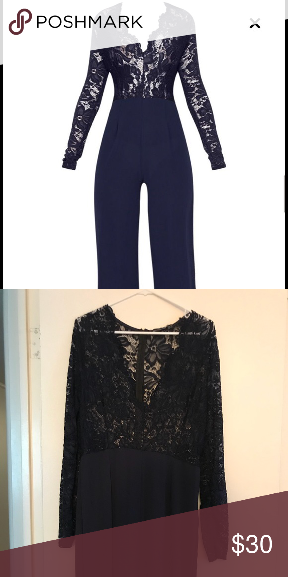 388a282c8f Navy Lace Long Sleeve Plunge Jumpsuit Cute long sleeve lace jumpsuit! High  waisted with a nice plunge. Size 12. Never worn. Ordered wrong size.