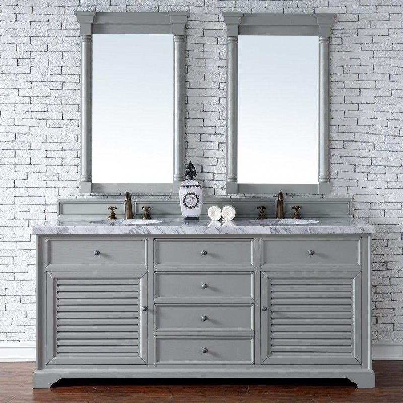 72 Inch Double Sink Bathroom Vanity Cottage Grey Finish No Top