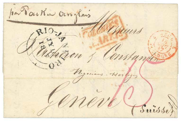 1847 British RIO-JANEIRO + COLONIES ART 13 on cover with text from RIO to SWITZERLAND.    Dealer  Lugdunum    Auction  Minimum Bid:  100.00EUR