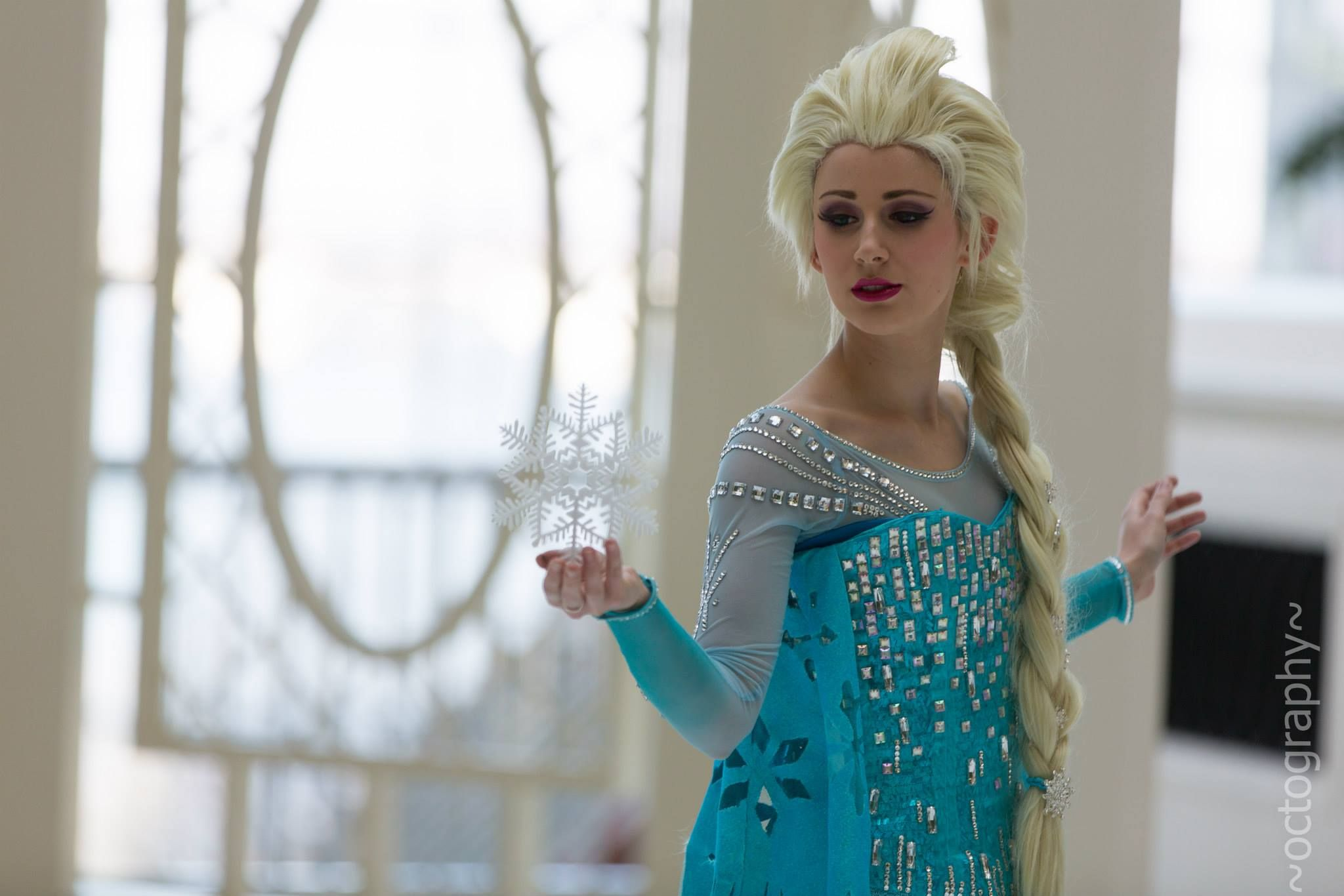 Elsa from Frozen by Dessi_desu | ACParadise.com | The undershirt was made using illusion mesh and she created templates for the rhinestone designs. The gradient on the bottoms of the sleeves was made using good ol' reliable floral spray.