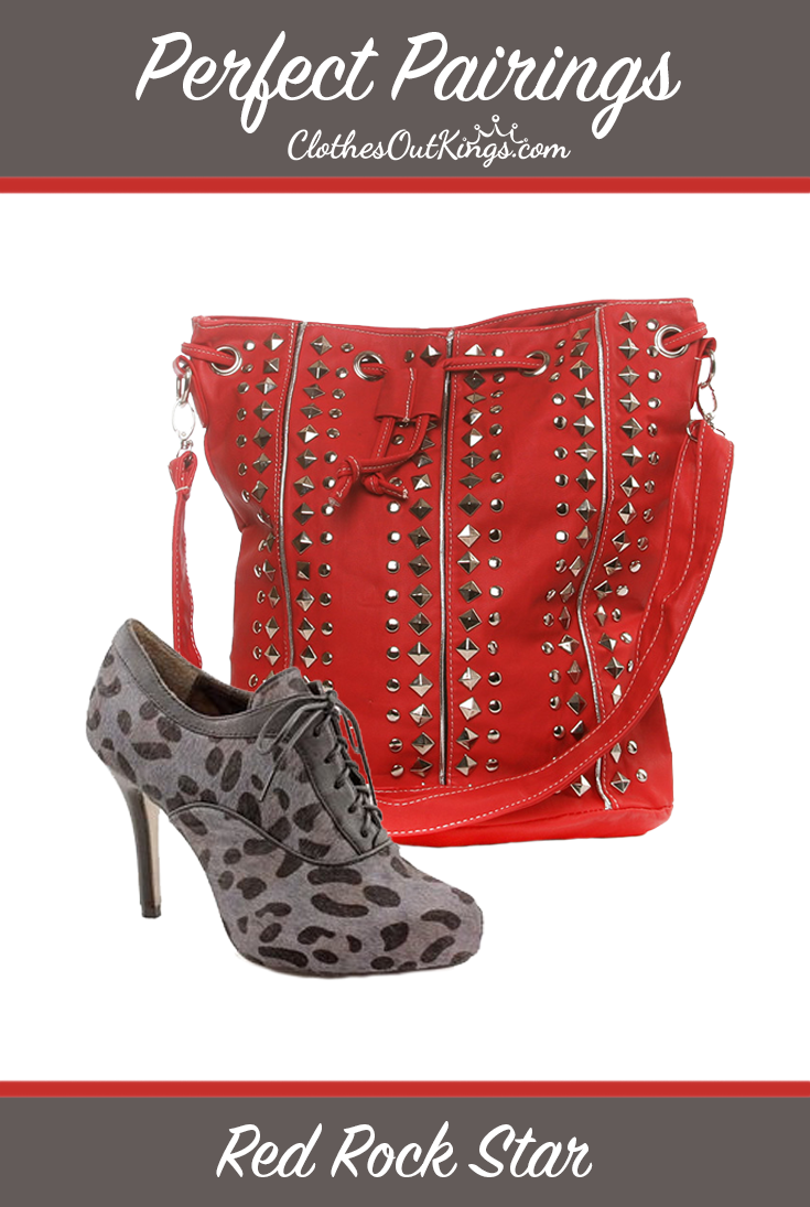 Perfect Pairings – Red Rock Star. Be bold with your style. Try this edgy pairing that will make heads turn! Isola Leopard Print Booties - http://www.clothesoutkings.com/isola-coralia-charcoal-leopard-horse-hair-womens-shoes/?utm_content=buffer86960&utm_medium=social&utm_source=pinterest.com&utm_campaign=buffer Gibou Red Studded Bag - http://www.clothesoutkings.com/gibou-red-leather-purse/?utm_content=buffer92f70&utm_medium=social&utm_source=pinterest.com&utm_campaign=buffer