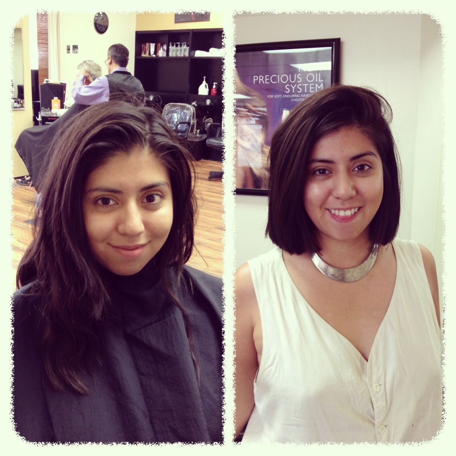 Went from grown out hair to a blunt, minimal bob.