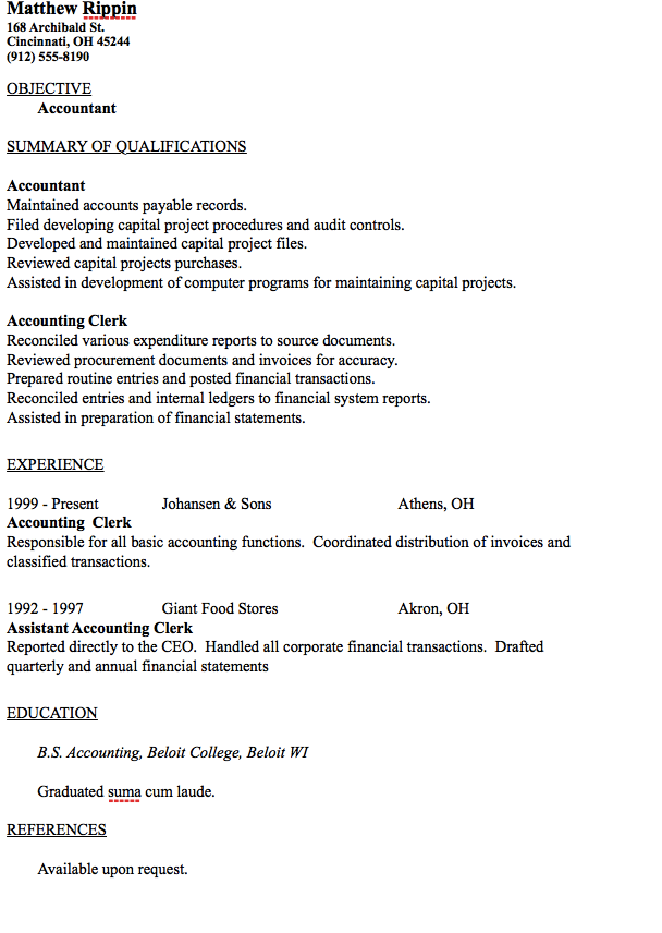 in post this time we will give a example about sample of entry level accountant resume sample that will give you ideas and provide a reference for your own