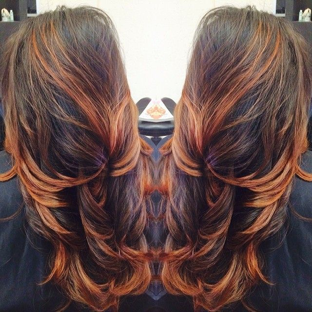 Long Hair Balayage And Copper Highlights Long Hair Pinterest