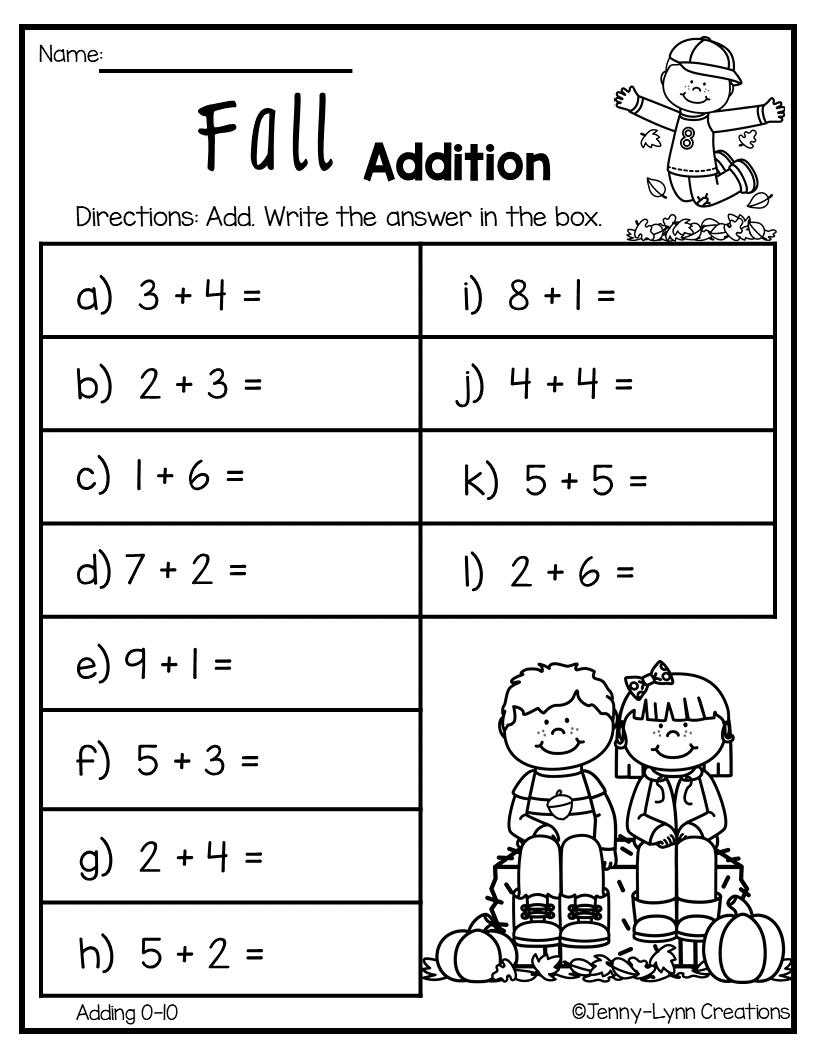 Fall Addition Kids math worksheets, 1st grade math