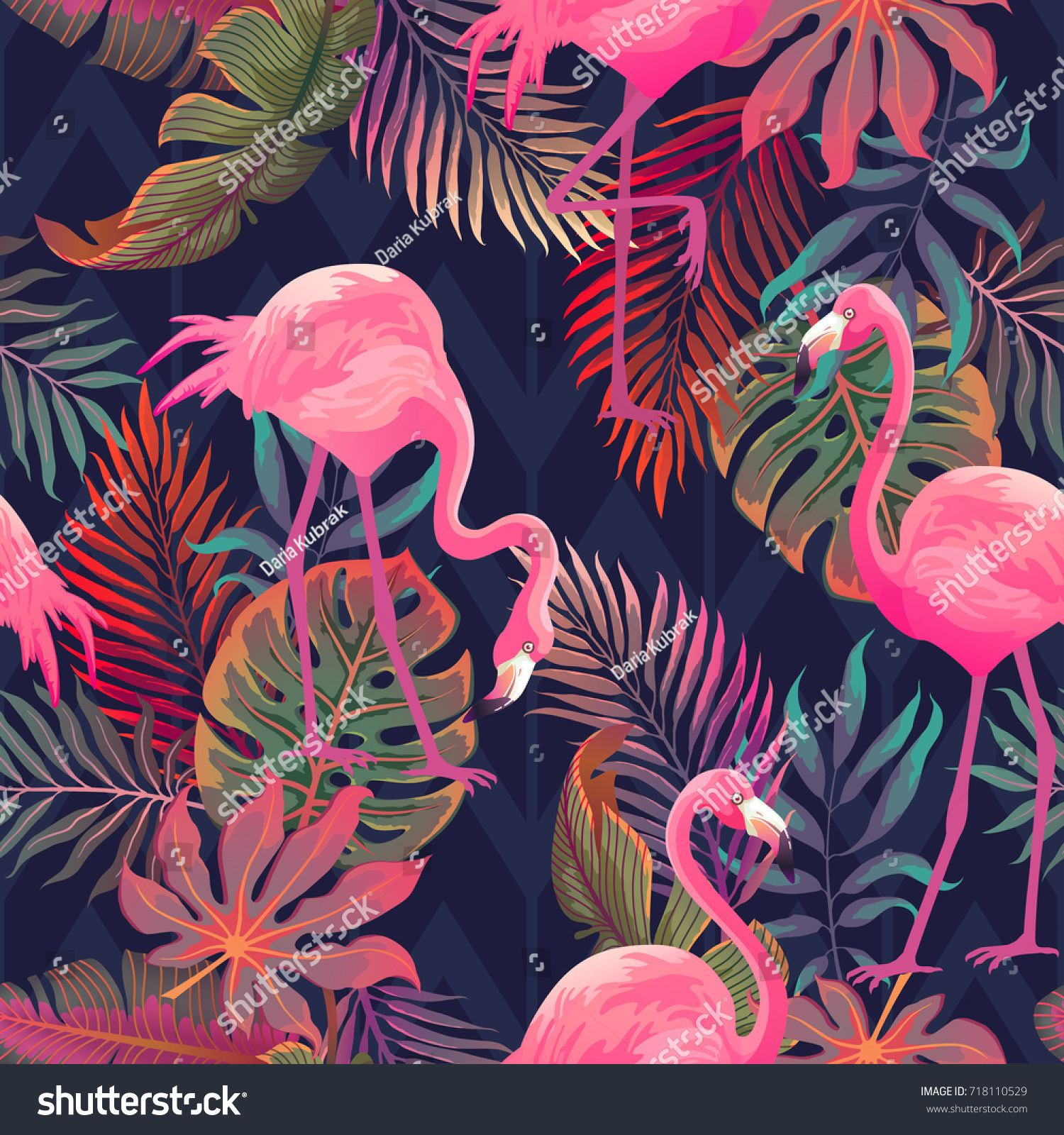 87f0b9dd3a Beautiful seamless vector tropical pattern with pink flamingo and palm  leaves on dark background. Abstract summer texture pattern#pink#flamingo# tropical