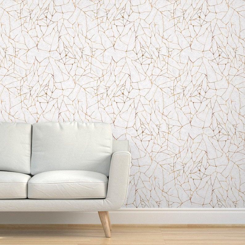 Wabi Sabi Wallpaper Kintsugi By Olooriel White Gold Modern Etsy In 2020 Textured Walls Kintsugi Wallpaper