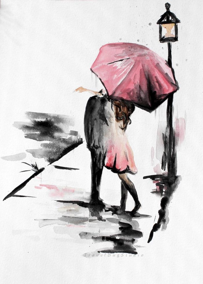 Couple amoureux sous la pluie, comment dessiner à l'aquarelle, coloriage en rose et noir, simple idée dessin silhouettes