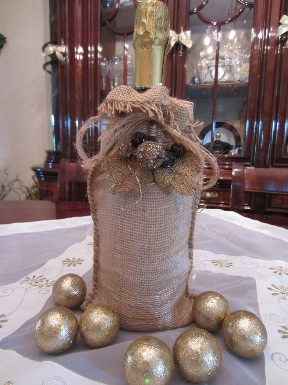 Burlap Wine and Liquor Bag by Angiolet on Etsy, $22.00