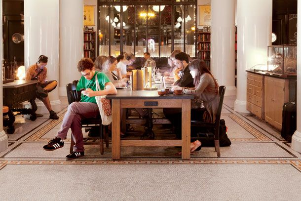 Ace Hotel Communal Workspace. The Idea Of A Library Without The Books? No  Pressure