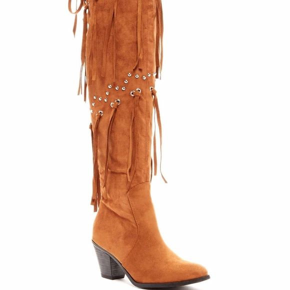 Mykel Thigh High Boot I am so in love with these boots. Perfect with a pair of tights and a white tee. Chestnut colored so they match half of your closet. Don't miss out. Bucco Shoes Over the Knee Boots