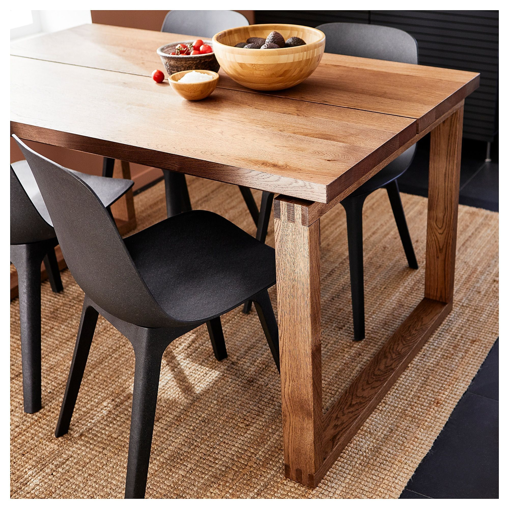 Morbylanga Odger Table And 4 Chairs Oak Veneer Brown Stained