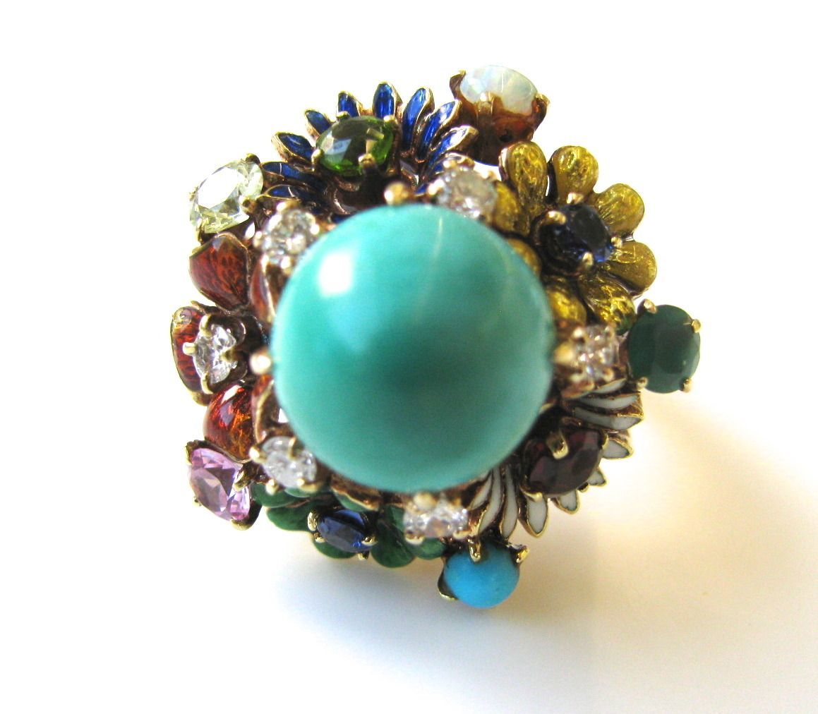 Turquoise Gemstone Enamel Gold Flower Ring | From a unique collection of vintage cocktail rings at https://www.1stdibs.com/jewelry/rings/cocktail-rings/