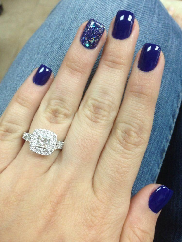 Navy Short Acrylic Nails And A Beautiful Ring Too Short Acrylic Nails Wedding Nails Glitter Nail Designs
