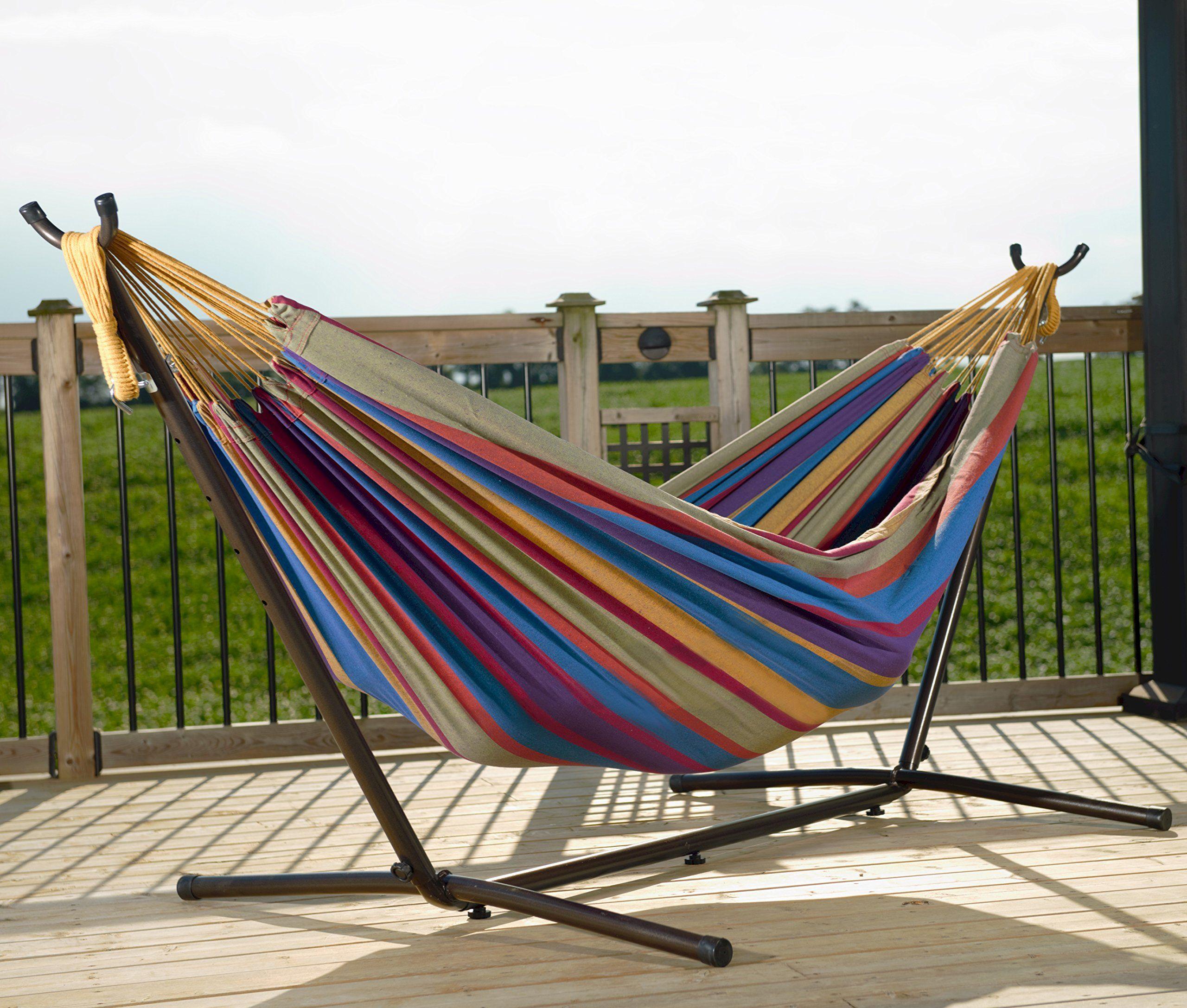 Amazon vivere uhsdo double hammock with spacesaving steel