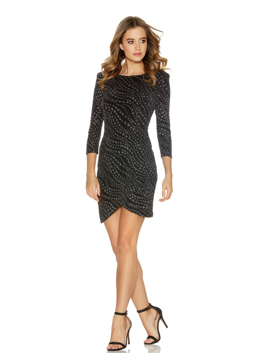 Black glitter wrap front sleeve dress bachelorette party