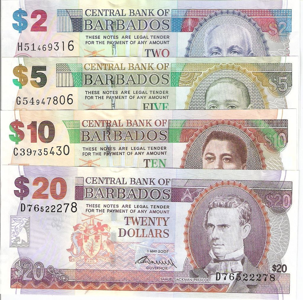 Barbados Dollar Barbados 2 20 Dollar Banknote World Money Currency Caribbean Bill