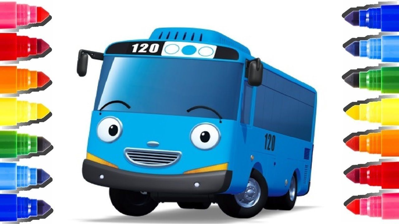 Learn Colors By Coloring The Little Bus Tayo l The Little Bus Tayo ...