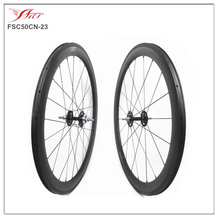 (418.00$)  Buy here - http://aii9r.worlditems.win/all/product.php?id=1000001294305 - Price competitive China carbon track bike wheels 700C 50mm deep single speed bicycle wheels , Novatec track hub Pillar spokes