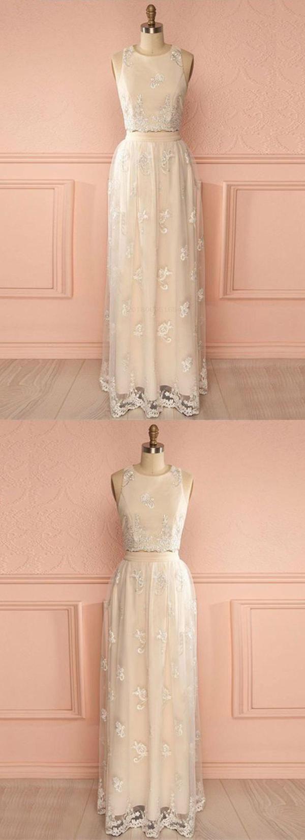 Two piece champagne lace unique qprom prom dresses