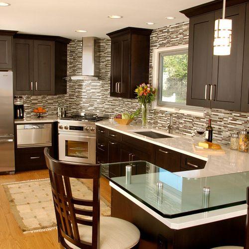 Contemporary espresso cabinets kitchen design ideas - Houzz cocinas ...