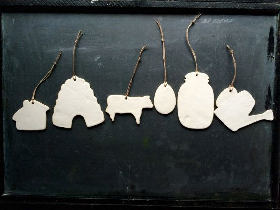 Ornament Porclain Ceramic Gift Tag Homestead Farm Inspired 6 pack Ready to Ship