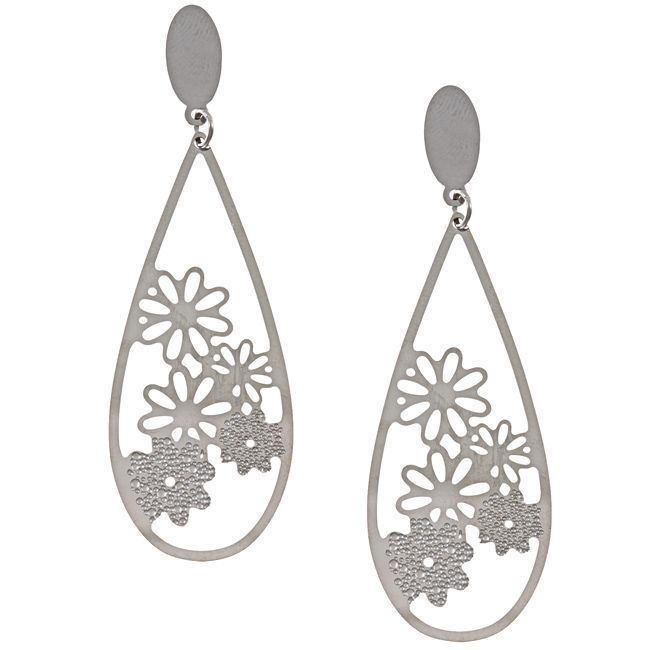 La Preciosa Stainless Steel Flower Design Teardrop Earrings, Women's (floral)