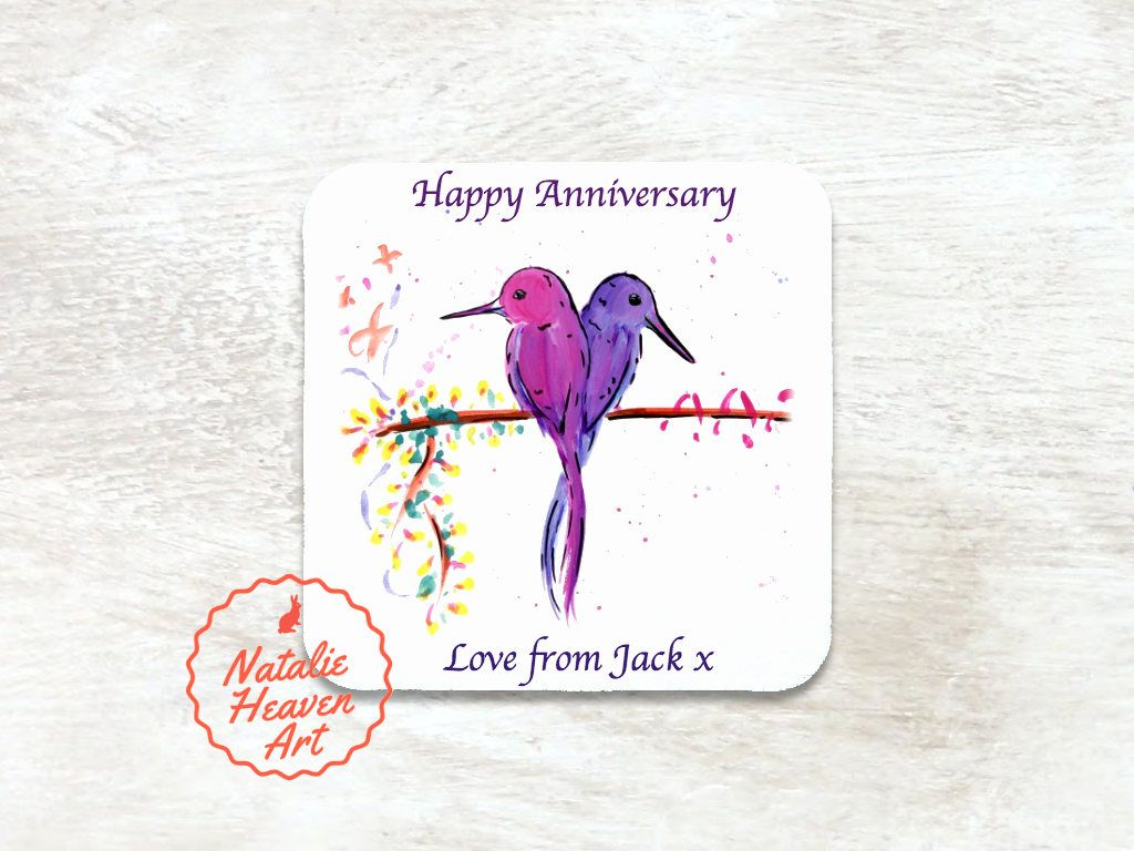 Birds Drinks Coaster Purple Gifts Girlfriend Anniversary