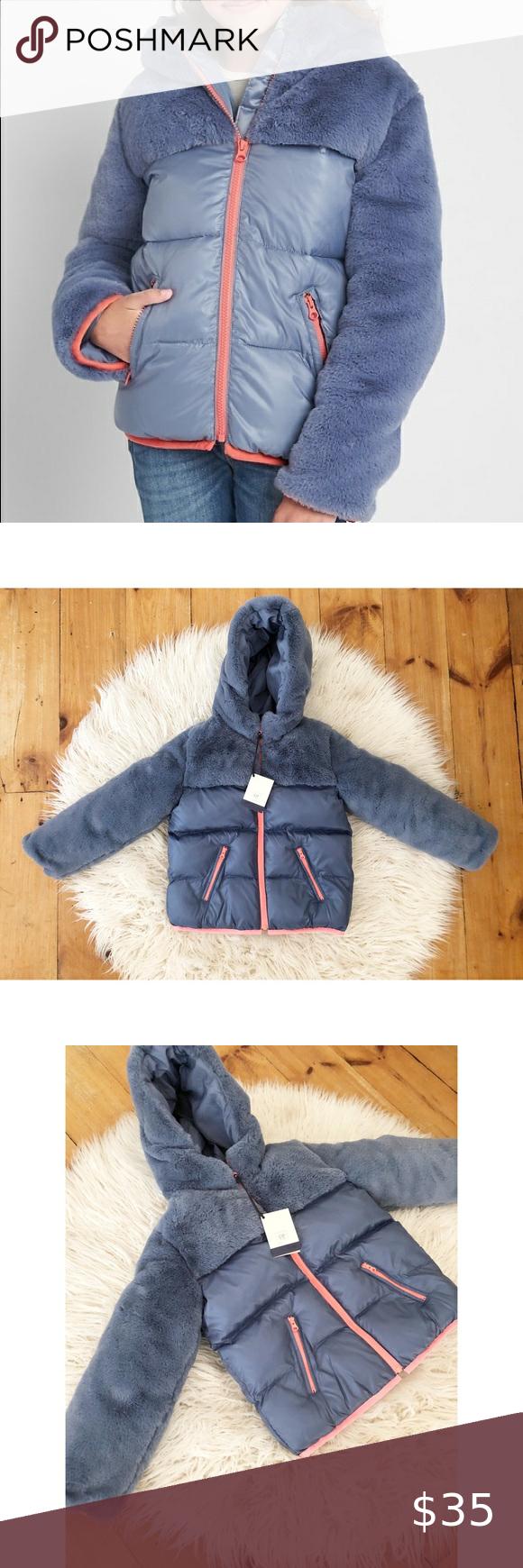 Gap Kids Elite Blue Mixed Fabric Faux Fur Puffer Gap Kids Gap Jacket Girls Jacket [ 1740 x 580 Pixel ]