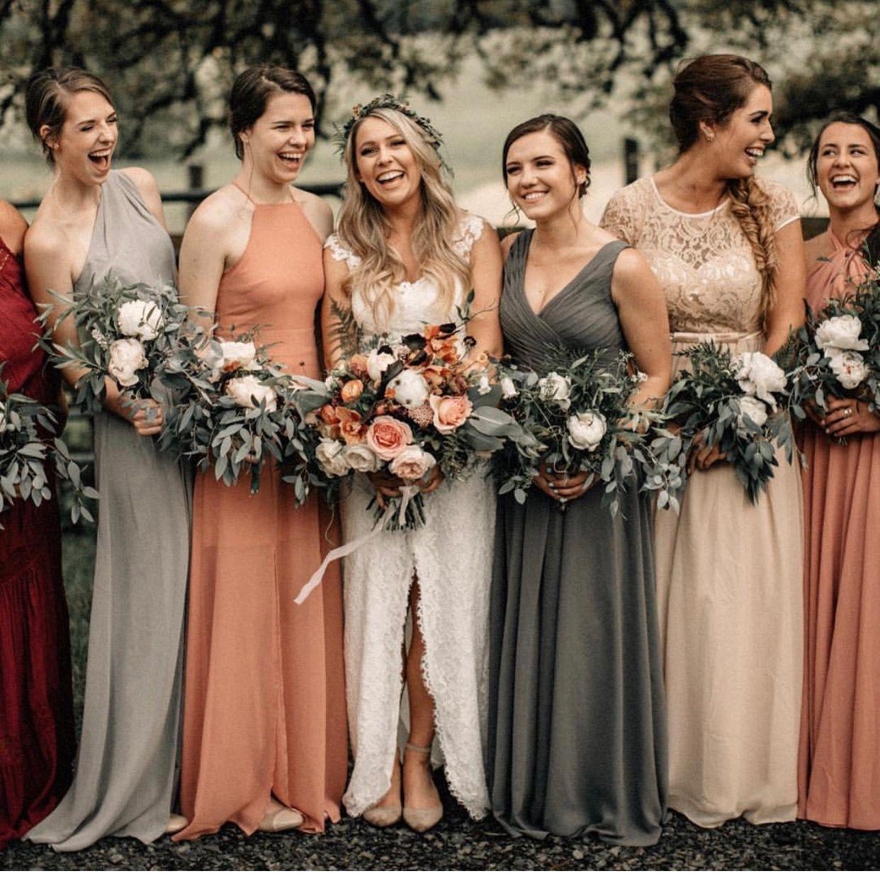 Bride Bridesmaid Bridesmaid Dress Colors Orange Bridesmaid Dresses Orange Wedding Colors [ 1236 x 1242 Pixel ]