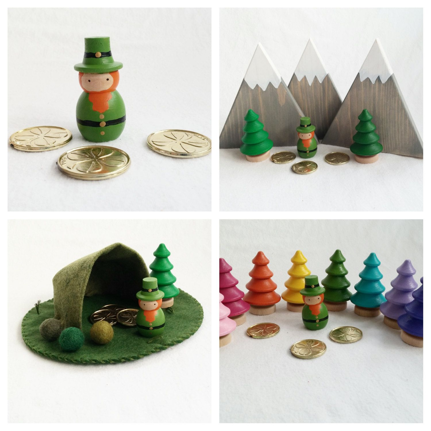 Leprechaun Peg Doll set St. Patrick's day toy Irish Gold child pretend play mat accessory open-ended storytelling fantasy by MyBigWorld2015 on Etsy