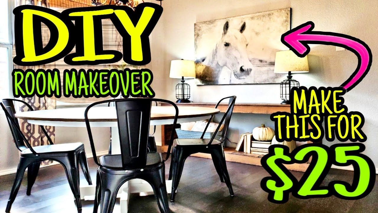 Dining Room Makeover Under 300 Diy Large Wall Art Table Makeover In 2020 Diy Farmhouse Decor Room Makeover Dining Room Makeover