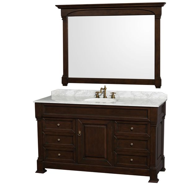 Wyndham Collection Andover 60-inch Dark Cherry UM Round Sink 56-inch