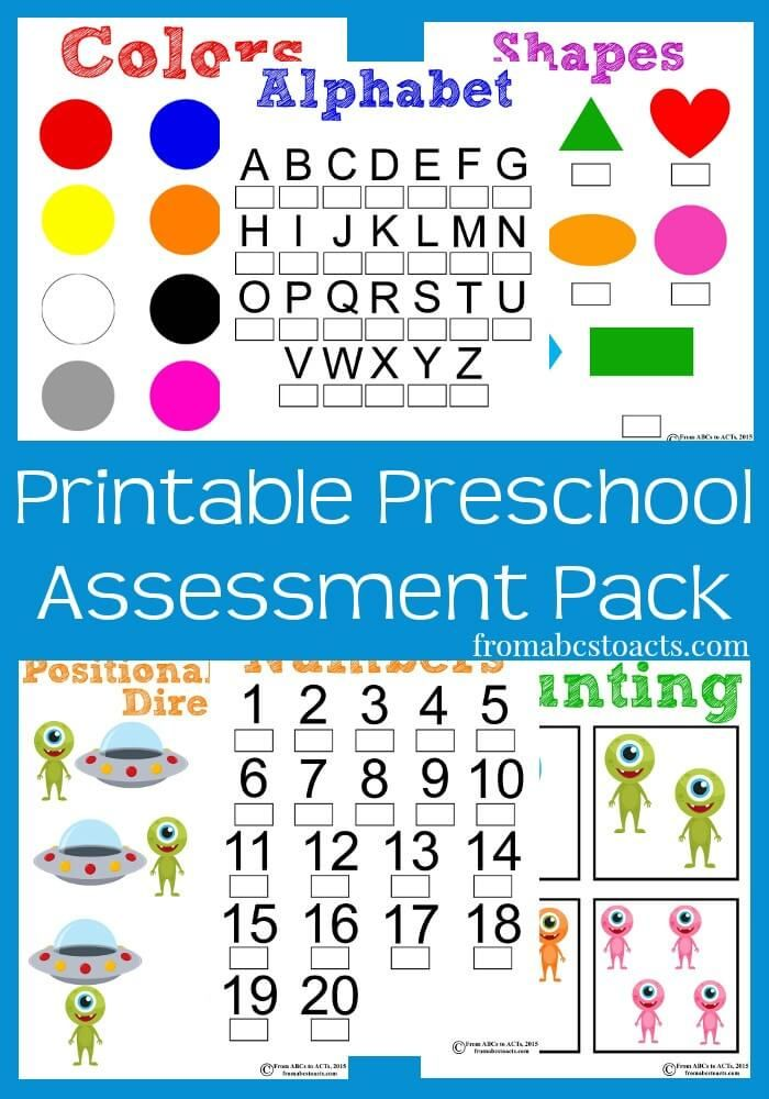Printable Preschool Assessment Pack  Preschool Assessment